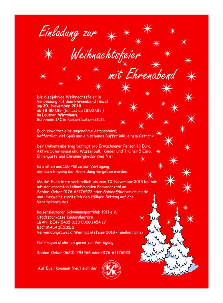Beitrag Zur Weihnachtsfeier.Einladung Weihnachtsfeier Kaiserslauterer Schwimmsportklub 1911 E V